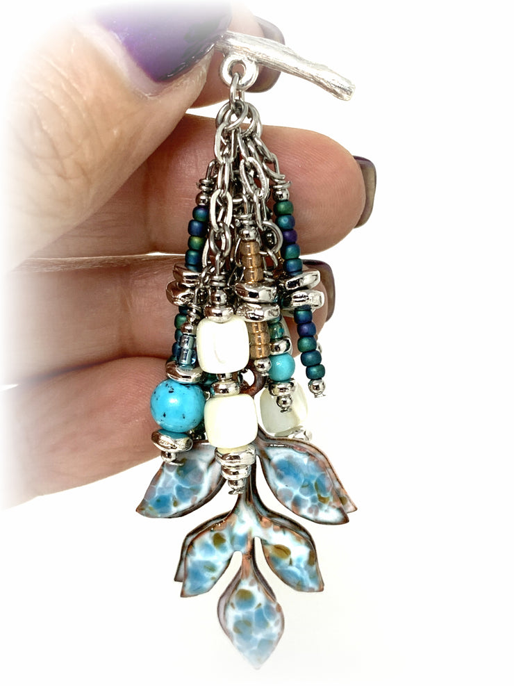 Painted Enamel Turquoise and Abalone Beaded Dangle Pendant #2156D