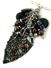 Black Painted Enamel Floral Beaded Dangle Pendant #2157D