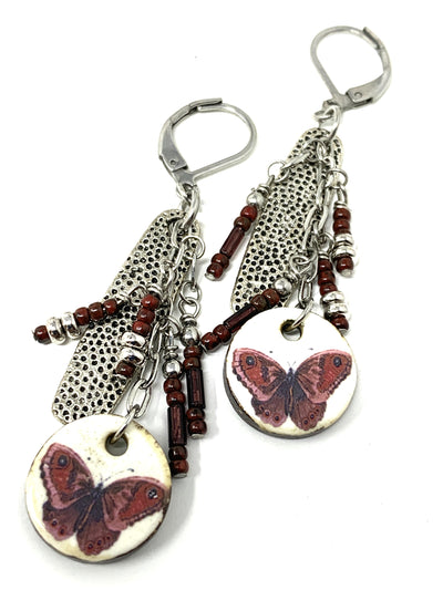 Ceramic Butterfly Beaded Dangle Earrings #988E