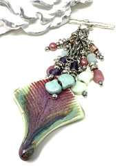 Porcelain Glass Interchangeable Beaded Pendant #2167D - Bead Dangle Design