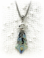 Porcelain Glass and Chalcedony Interchangeable Beaded Pendant #2168D - Bead Dangle Design
