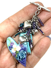 Lampwork Glass Painted Floral Heart Interchangeable Beaded Pendant #2175D - Bead Dangle Design