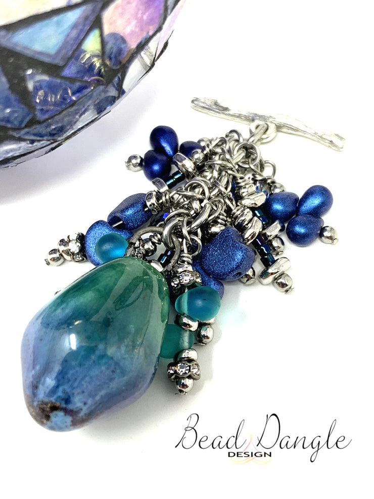 Porcelain Deep Blue and Green Interchangeable Beaded Pendant #2173D