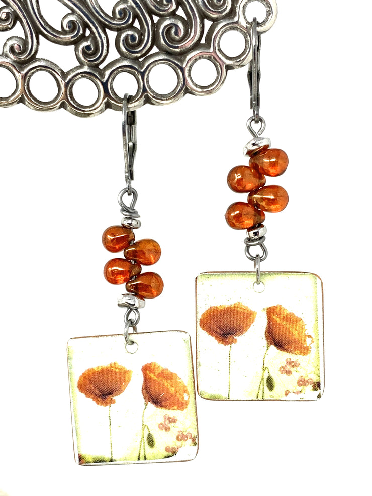 Coral Peony Teardrop Glass Beaded Dangle Earrings #989E - Bead Dangle Design