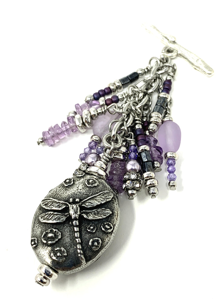 Purple Amethyst Dragonfly Beaded Pendant #2178D - Bead Dangle Design