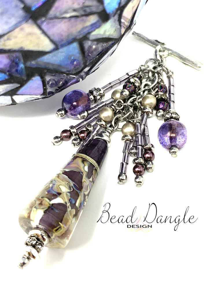 Lampwork Glass Swarovski Pearl and Seed Bead Interchangeable Beaded Pendant #2184D - Bead Dangle Design