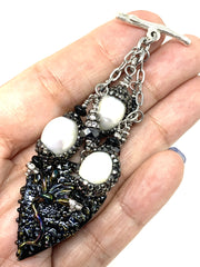 Painted Lampwork Glass Enamel Pave' Interchangeable Beaded Pendant #2185D - Bead Dangle Design