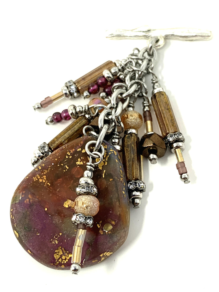 Golden Speckled Polymer Clay Interchangeable Beaded Pendant #2186D - Bead Dangle Design