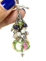 Lampwork Glass Pastel Floral Interchangeable Beaded Pendant #2188D