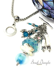 Lampwork Glass Seashell and Howlite Interchangeable Beaded Pendant #2194D