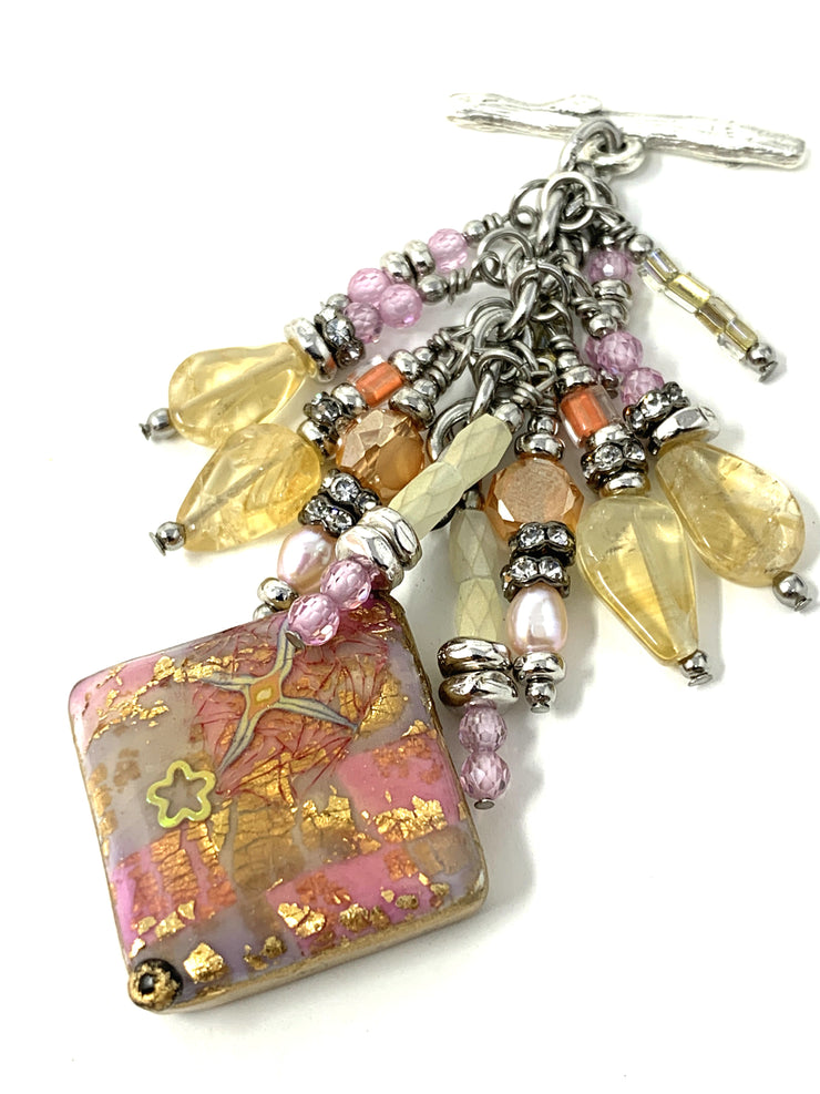 Pastel Golden Peach Starfish Polymer Clay Beaded Pendant #2195D - Bead Dangle Design