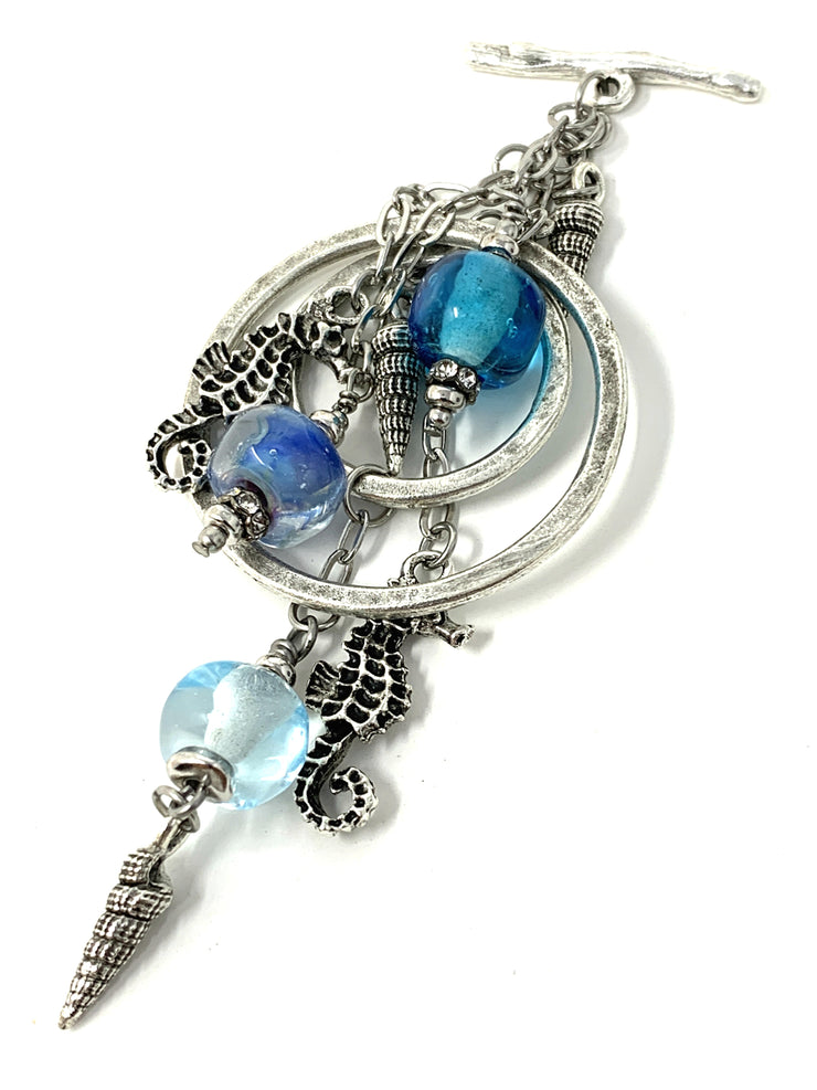 Lampwork Glass Seahorse and Seashell Interchangeable Beaded Pendant #2189D - Bead Dangle Design