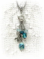 Lampwork Glass Fairy Angel Wing Interchangeable Beaded Pendant #2199D - Bead Dangle Design