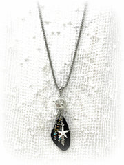 Black Sea Glass and Starfish Beaded Pendant Necklace #2202D - Bead Dangle Design
