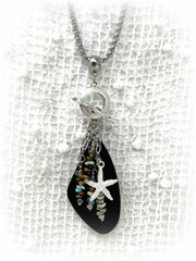 Black Sea Glass and Starfish Beaded Pendant Necklace #2202D