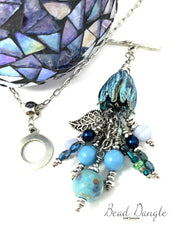 Patina Tulip Lampwork Glass and Filigree Leaf Interchangeable Beaded Pendant #2198D - Bead Dangle Design