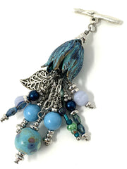 Patina Tulip Lampwork Glass and Filigree Leaf Interchangeable Beaded Pendant #2198D