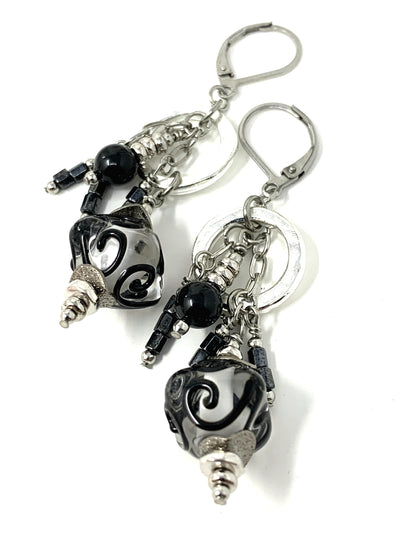 Black Lampwork Glass Swirl Beaded Dangle Earrings #1004E