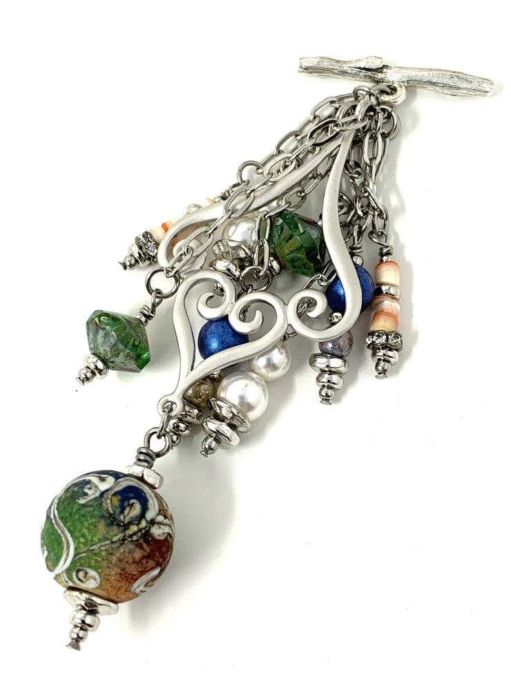 Swarovski Pearl Lampwork Glass Swirls of Color Beaded Pendant Necklace #2206D - Bead Dangle Design