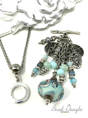 Turquoise Swirl Lampwork and Dolce Vida Beaded Pendant Necklace #2207D