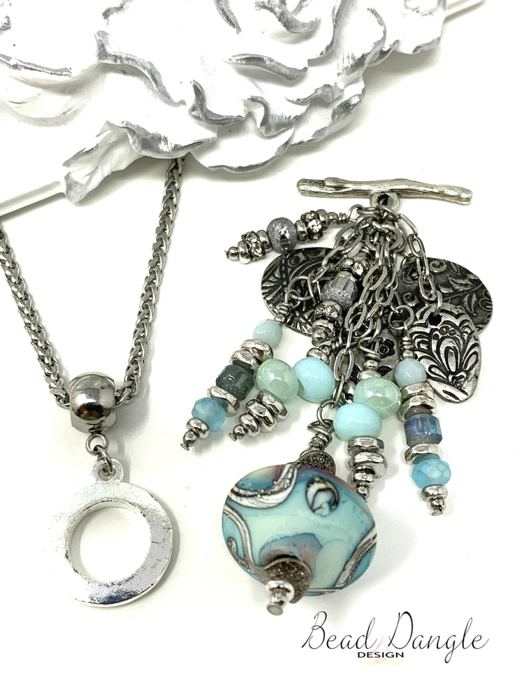 Turquoise Swirl Lampwork and Dolce Vida Beaded Pendant Necklace #2207D - Bead Dangle Design
