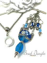 Lampwork Glass and Swarovski Pearl Beaded Pendant Necklace #2212D