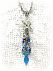 Lampwork Glass and Swarovski Pearl Beaded Pendant Necklace #2212D - Bead Dangle Design