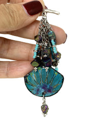 Painted Enamel and Pyrite Pearl Beaded Pendant Necklace #2219D - Bead Dangle Design