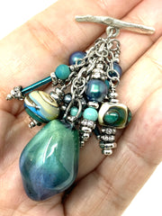 Lampwork Glass and Porcelain Swarovski Pearl Beaded Pendant Necklace #2218D - Bead Dangle Design