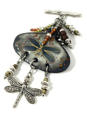 Dragonfly Painted Enamel Beaded Pendant Necklace #2213D - Bead Dangle Design