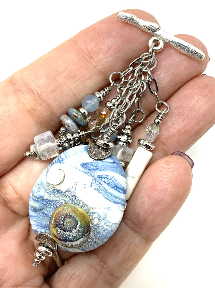 Beach Waves Beaded Pendant Necklace #2224D
