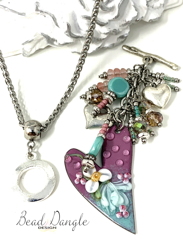 Heart Hand Painted Glass Enamel Beaded Pendant Necklace #2225D - Bead Dangle Design
