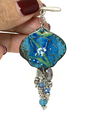 Hand Painted Enamel Floral Mystic Moonstone Beaded Pendant Necklace #2231D - Bead Dangle Design