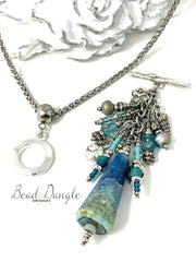 Teal Blue Sand Stone Lampwork Glass Shell Beaded Pendant Necklace #2230D - Bead Dangle Design