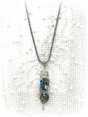 All the Blue Dragonfly Agate and Glass Beaded Pendant Necklace #2229D - Bead Dangle Design