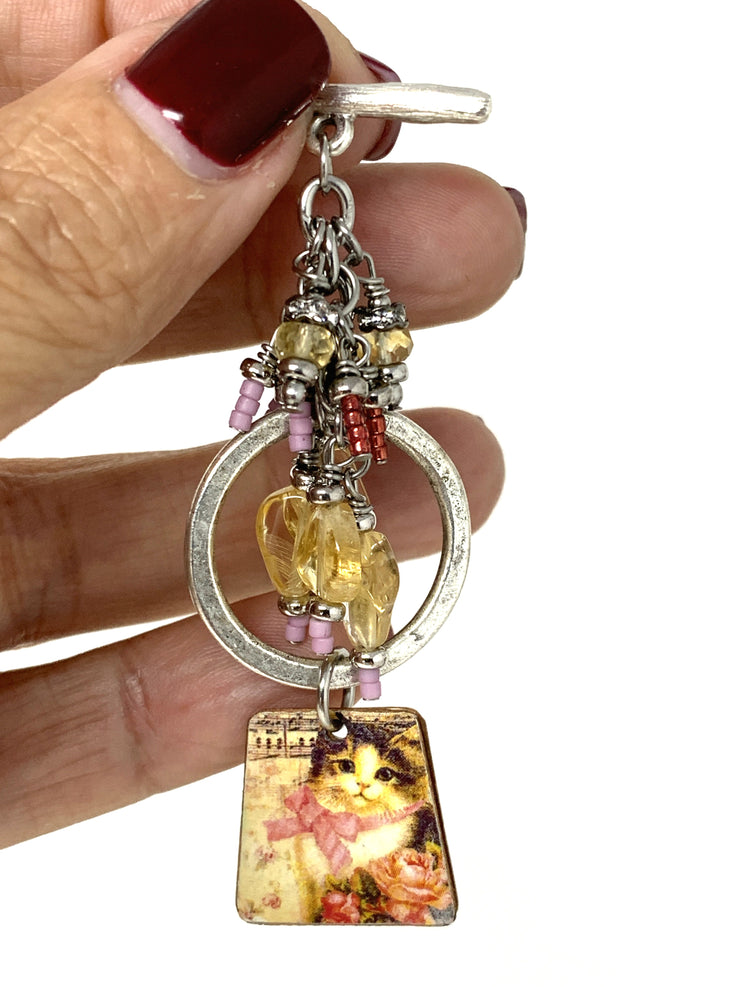 Pretty Kitty Cat Faceted Citrine Beaded Pendant Necklace #2227D - Bead Dangle Design