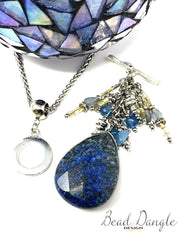 Blue Faceted Lapis Beaded Pendant Necklace #2234D