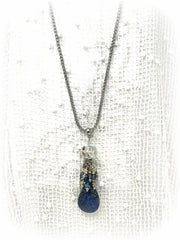Blue Faceted Lapis Beaded Pendant Necklace #2234D - Bead Dangle Design