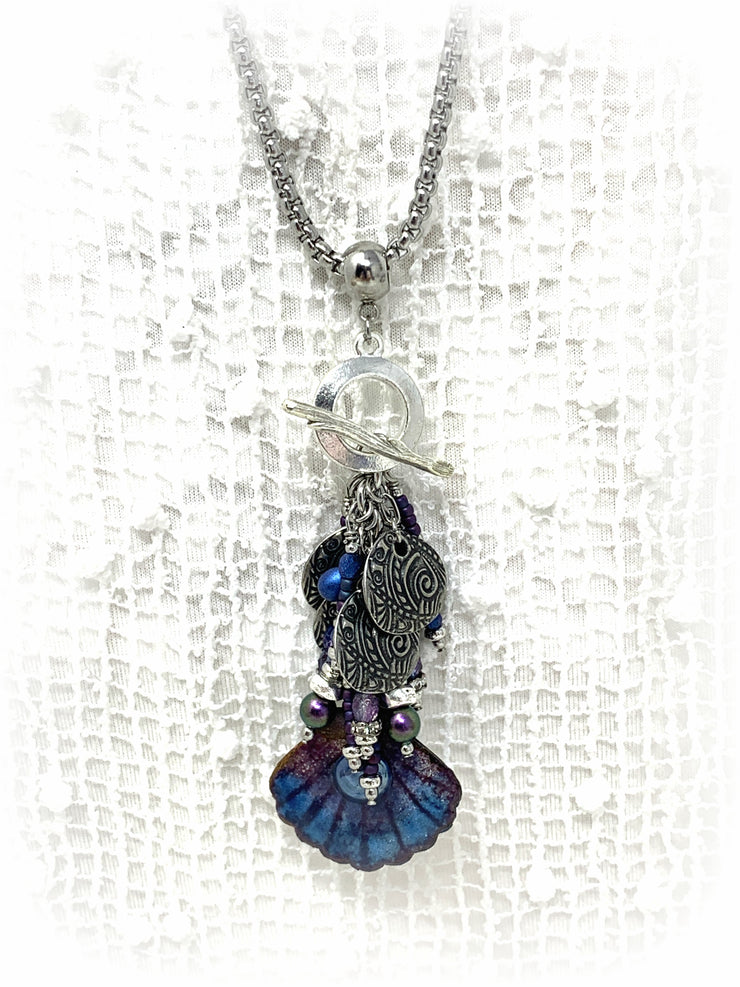 Hand Painted Enamel Dolce Vida Seed Bead Beaded Pendant Necklace #2236D - Bead Dangle Design