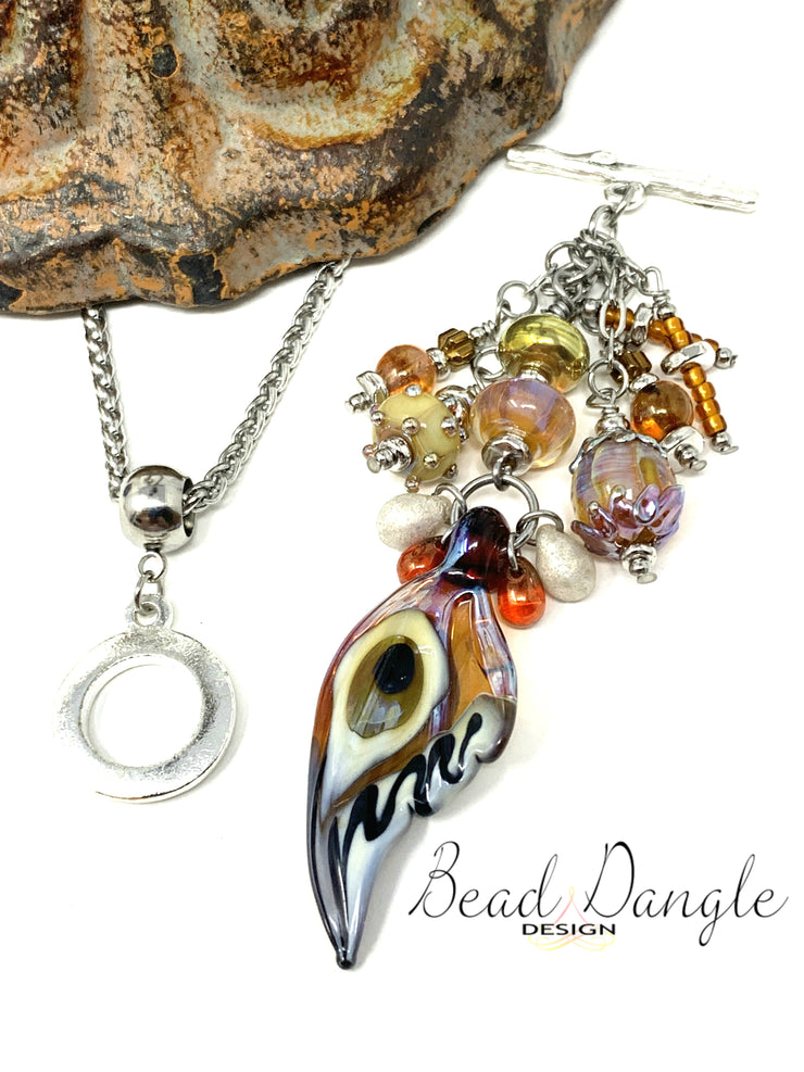 Butterfly Wing Lampwork Glass Beaded Pendant Necklace #2237D