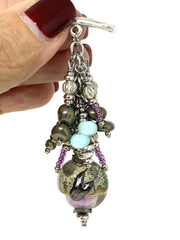 Blown Lampwork Glass Beaded Pendant Necklace #2239D - Bead Dangle Design