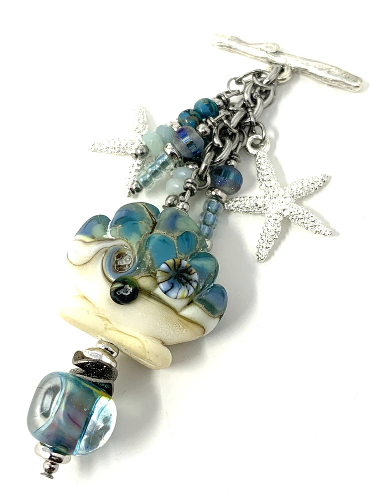 Handmade Lampwork Glass Shell and Starfish Beaded Charm Necklace #2242D - Bead Dangle Design