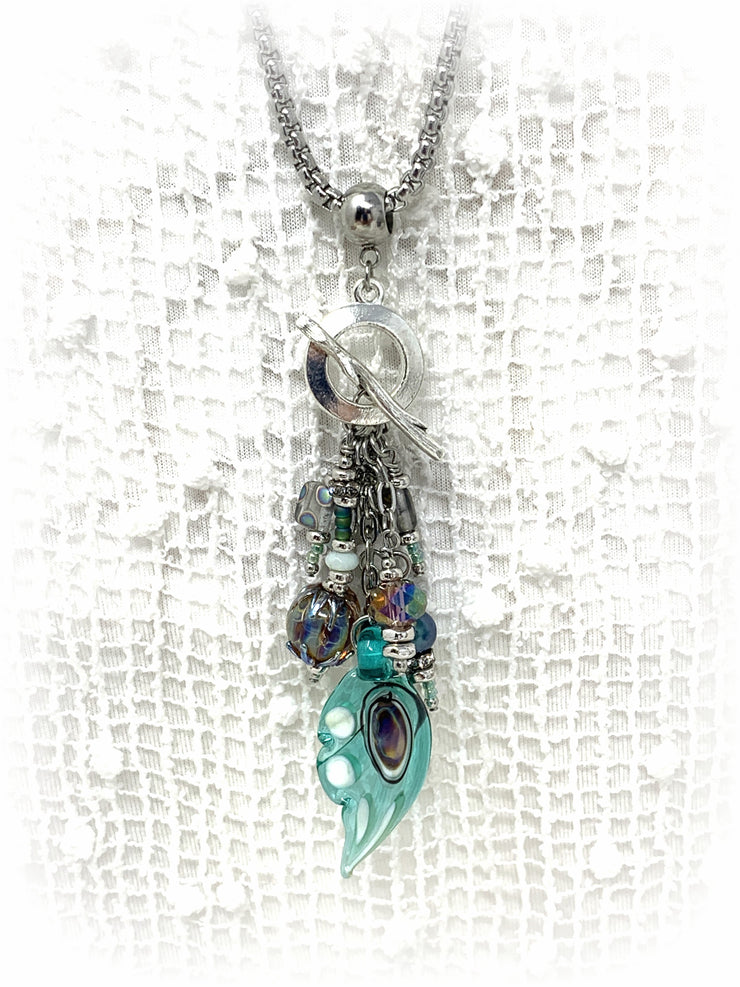 Butterfly Wing Lampwork Glass Beaded Pendant Necklace #2243D - Bead Dangle Design