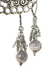 Lightweight Polymer Clay Beaded Dangle Earrings #1012E - Bead Dangle Design