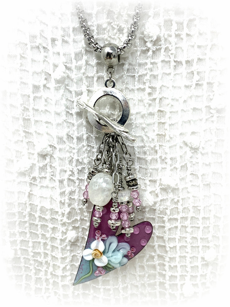 Painted Enamel Heart and White Moonstone Beaded Pendant Necklace #2245D - Bead Dangle Design