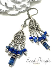 Blue Lapis Filigree Beaded Dangle Earrings #1013E - Bead Dangle Design