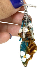 Lampwork Glass Painted Enamel Beaded Pendant Necklace #2246D - Bead Dangle Design