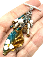 Lampwork Glass Painted Enamel Beaded Pendant Necklace #2246D