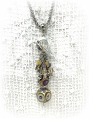 Lampwork Glass and Crystal Beaded Pendant Necklace #2247D - Bead Dangle Design