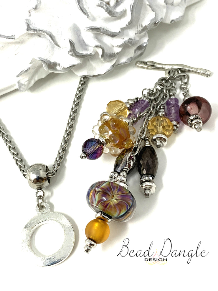 Floral Lampwork Glass and Crystal Beaded Pendant Necklace #2248D - Bead Dangle Design